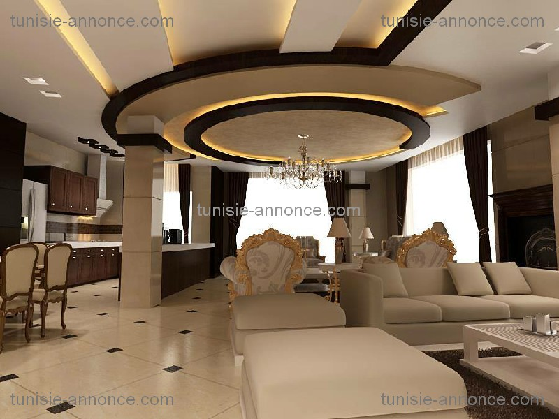 Best decoration salon placoplatre photos for Model faux plafond platre