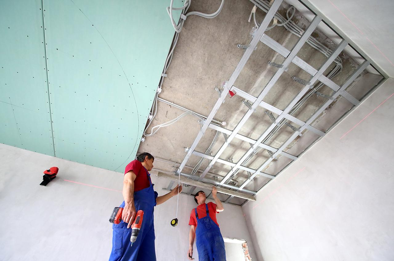 Pose d 39 un faux plafond en ba13 isolation id es for Idee faux plafond pas cher