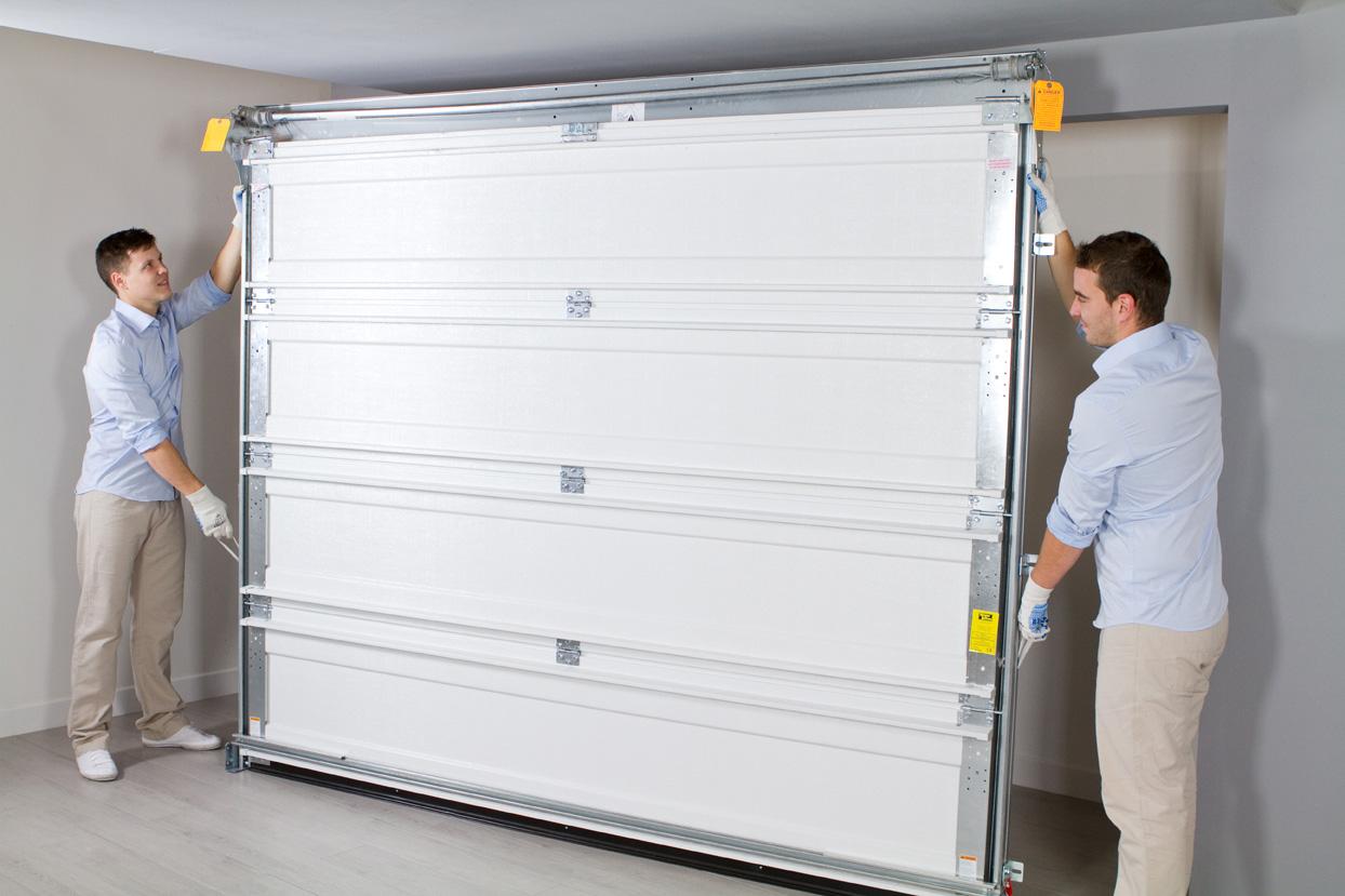 Porte de garage basculante d bordante lapeyre isolation for Porte isolation phonique lapeyre